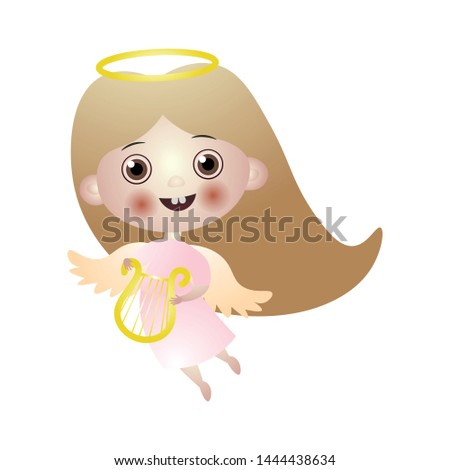 cute brunette kid angel with
