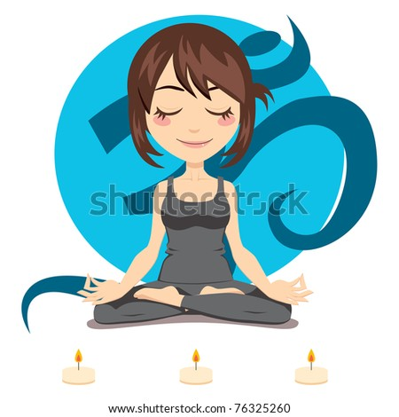 cute brunette woman doing yoga
