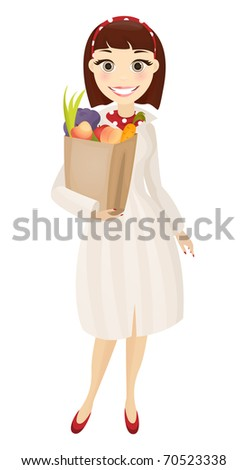 cute brunette woman with paper
