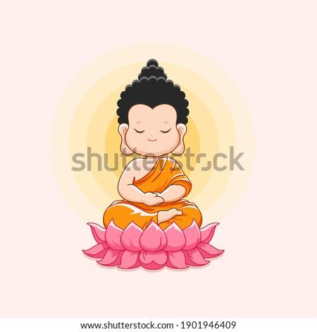 Cute Buddha meditating on the lotus.Happy vesak day or buddha purnima-Vector illustration