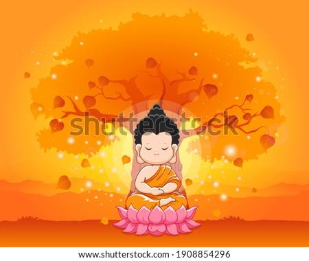 Cute Buddha meditating on the lotus under bodhi tree.Happy vesak day,Magha puja or buddha purnima-Vector illustration