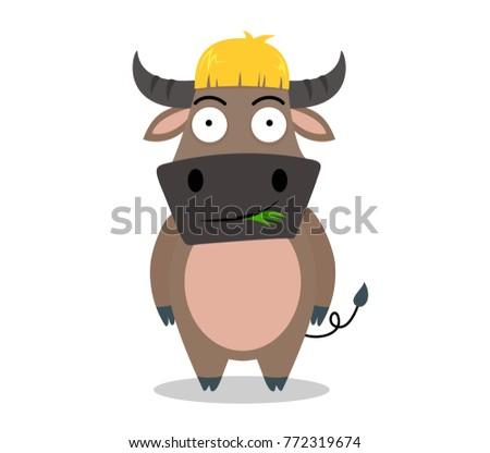 cute buffalo cartoon eat grass isolated on white background - vector illustration