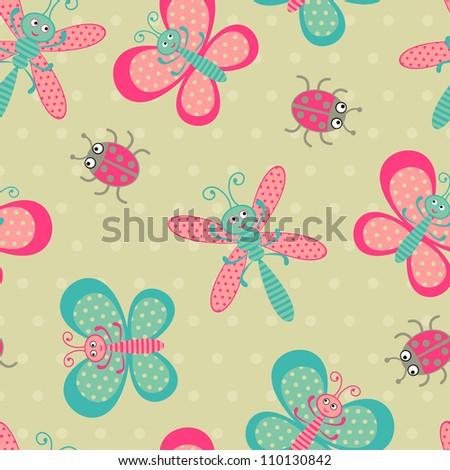 Cute bugs seamless pattern