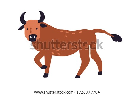 Cute bull or ox isolated on white background. Funny buffalo animal. Colored flat vector illustration of wild horny character isolated on white background Stockfoto ©