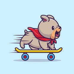 Cute Bulldog Playing Skateboard Cartoon Vector Icon Illustration. Animal Sport Icon Concept Isolated Premium Vector. Flat Cartoon Style