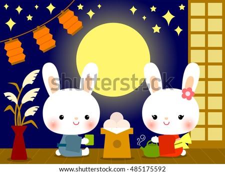 cute bunnies enjoying tsukimi