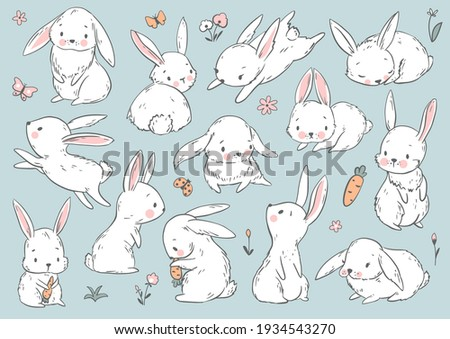Cute Bunny and Carrot collection. Hand drawn vector illustration