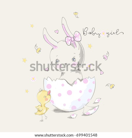 Cute bunny and chick with baby girl slogan. Vector baby illustration with pets for fashion apparels, t shirt, greeting card and printed tee design #699401548