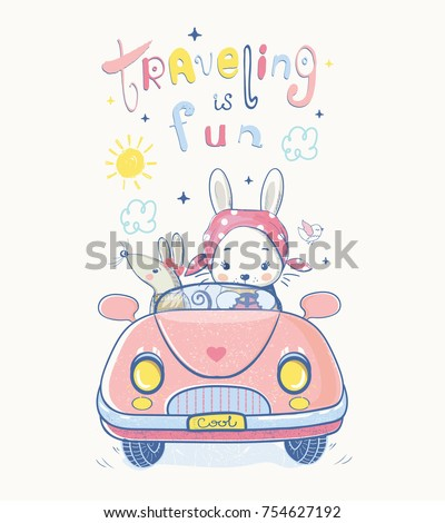 Cute bunny and mouse traveling.cartoon hand drawn vector illustration. Can be used for baby t-shirt print, fashion print design, kids wear, baby shower celebration greeting and invitation card.