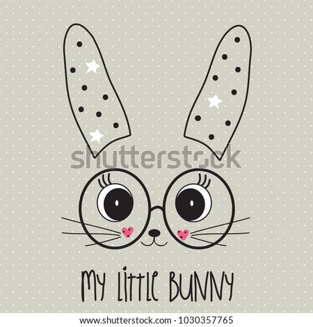 cute bunny face with glasses, Happy Easter card vector illustration