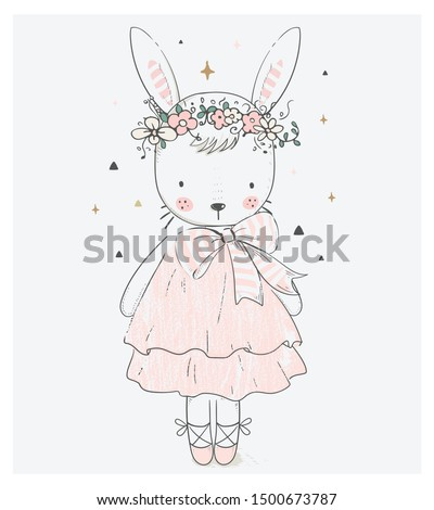Cute Bunny Girl. cartoon hand drawn vector illustration. Can be used for baby t-shirt print, fashion print design, kids wear, baby shower celebration, greeting and invitation card.