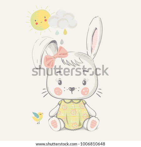 Cute Bunny girl.cartoon hand drawn vector illustration. Can be used for baby t-shirt print, fashion print design, kids wear, baby shower celebration greeting and invitation card.