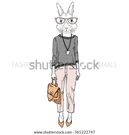 cute bunny girl dressed up in