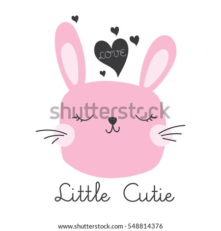cute bunny head vector drawing