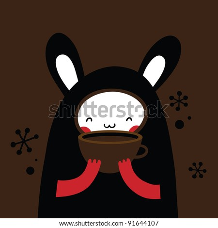 Cute bunny holding a cup of coffee