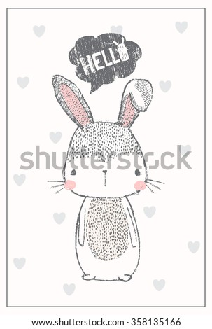 cute bunny illustration for