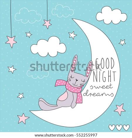 cute bunny on the moon vector
