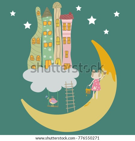 cute bunny painting the moon on