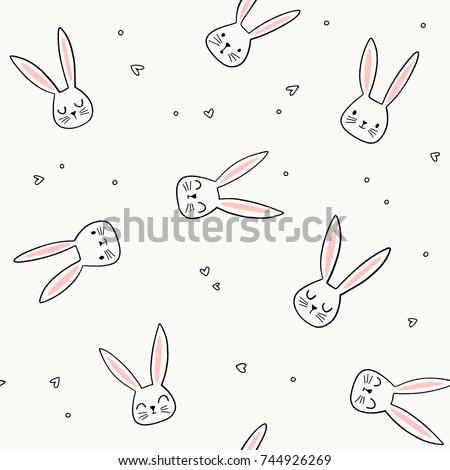 Cute bunny pattern. Hand drawn rabbit head vector seamless background. Doodle bunny face and hearts.