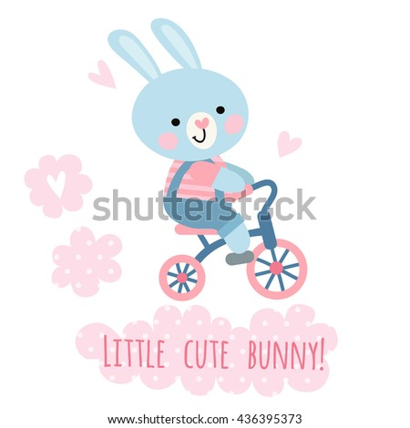Cute bunny riding a bicycle. Children's illustration with a bunny.