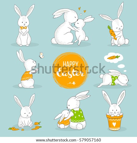 Cute bunny set. Easter greeting card, hand drawn illustration.