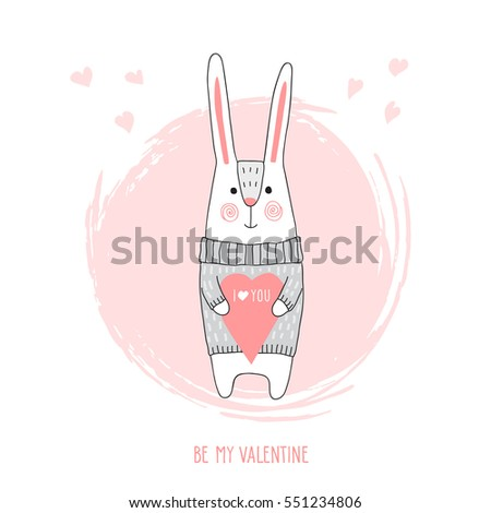 cute bunny valentines day card