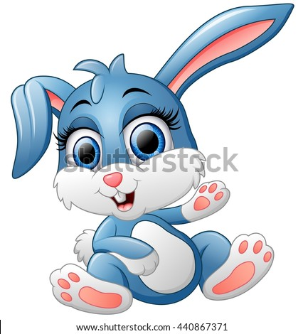 cute bunny waving hand