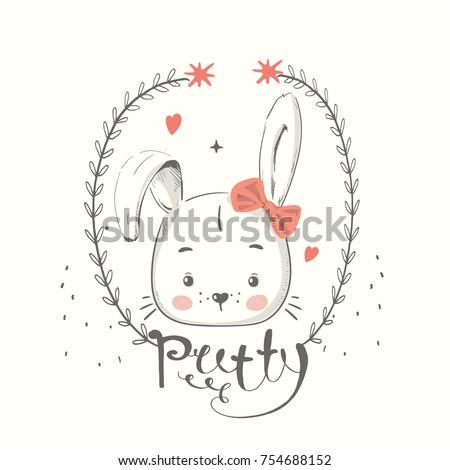 cute bunny with bow. cartoon...