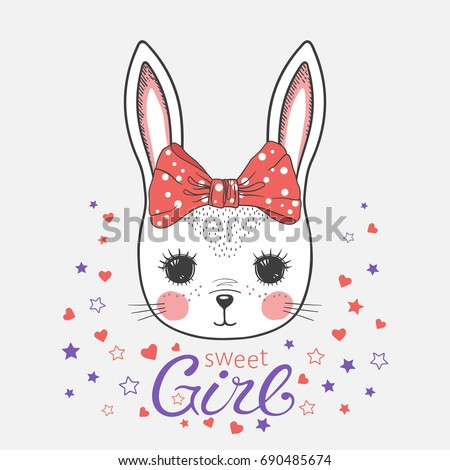 cute bunny with bow sweet girl
