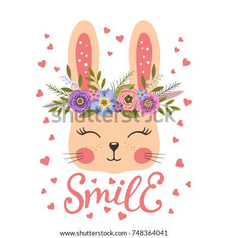 Cute bunny with floral wreath