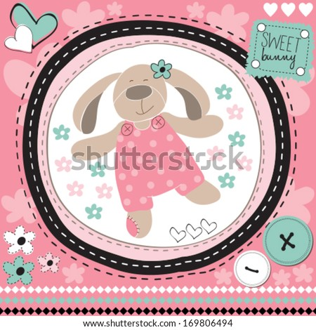cute bunny with flower vector illustration