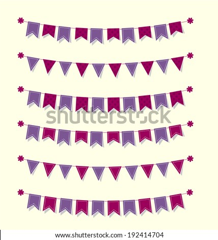 Cute bunting flags set purple with stitches and polka dots for scrapbook Vector illustration