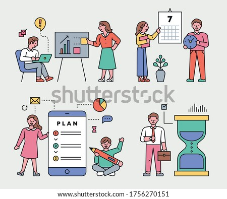Cute business characters are working. flat design style minimal vector illustration.