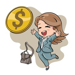 Cute business woman in suit. Throw her work bag, cheering and receiving big gold coin. Payout, salary, earnings, financial success illustration concept. Drawn in kawaii chibi style.