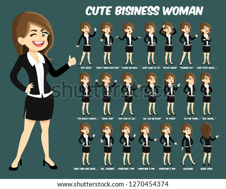 cute business woman with dark