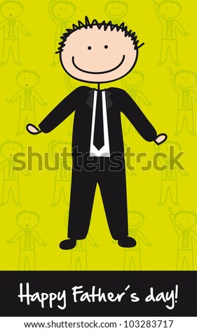 cute businessman over green background, fathers day. vector