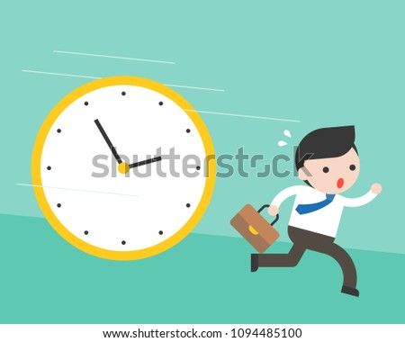 Cute businessman running from big clock follow him, flat design vector rushing hours and deadline concept