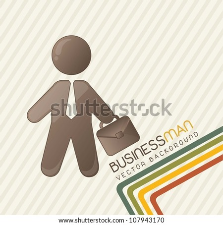 cute businessman with lines, vintage. vector illustration