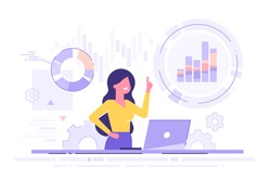 Cute businesswoman analyzing data on his laptop and holding up her index finger. Data science concept. Business charts and diagrams. Modern vector illustration.