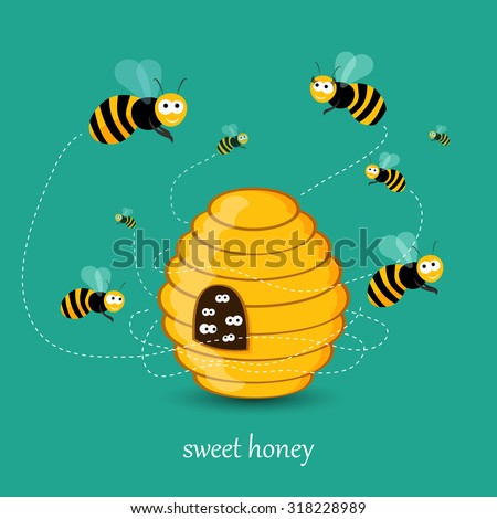 Cute busy bees flying around a bee hive flat illustration in vector