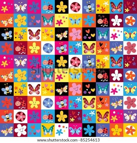 cute butterflies beetles flowers pattern