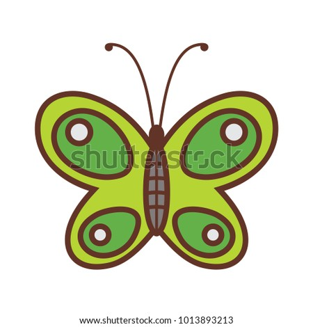 Cute butterfly brown green drawing lineart isolated vector illustration design