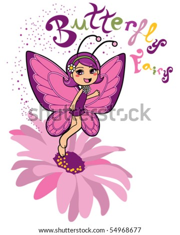 Cute butterfly fairy making happiness magic levitating over a pink daisy flower