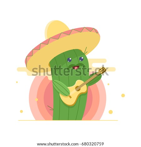 cute cactus in sombrero