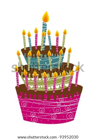 cute cake happy birthday isolated over white background