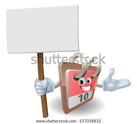 Cute calendar cartoon character holding a sign post
