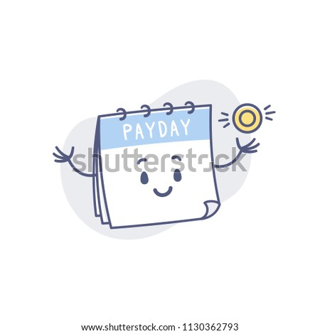 Cute calendar character with payday labeled showing golden coin vector cartoon illustration