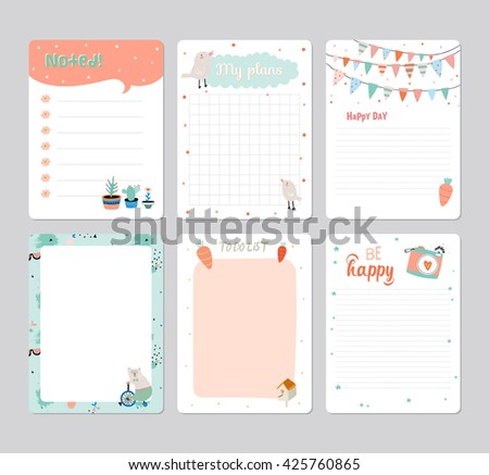 Cute Calendar Daily Planner Template For 2016. Note Paper Set With Vector  Funny Animals Illustrations  Daily Organizer Template