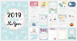 Cute Calendar for 2019. vector illustration