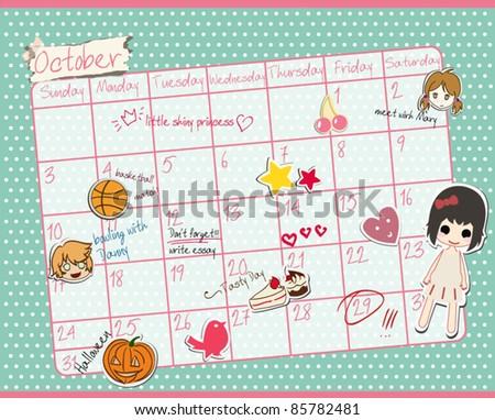 Cute Calendar/ October 2011